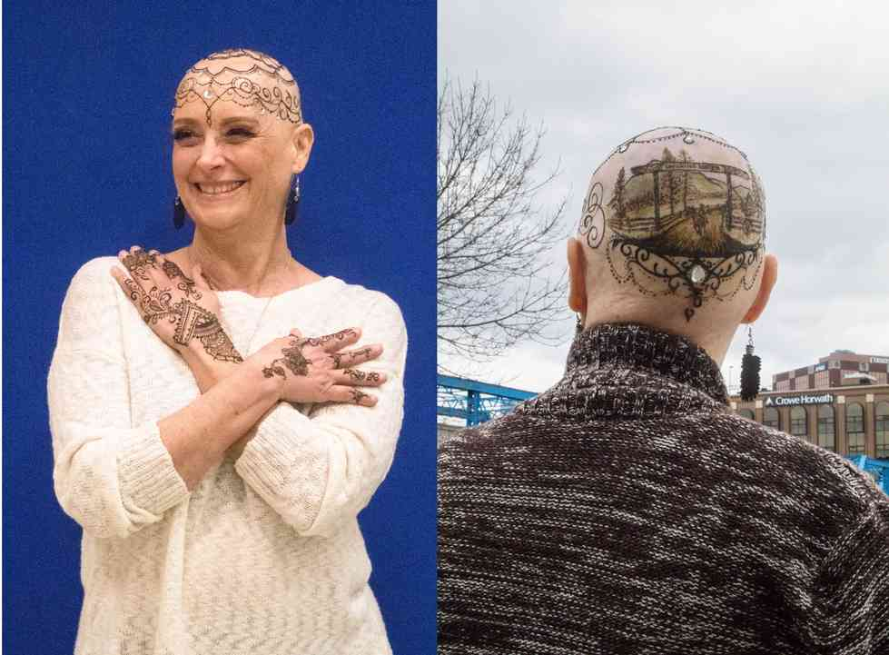 Janet Mills with henna tattoos on head and hands from Grand Rapids Crowns of Courage